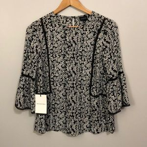Who What Wear Black Floral Blouse Small NWT